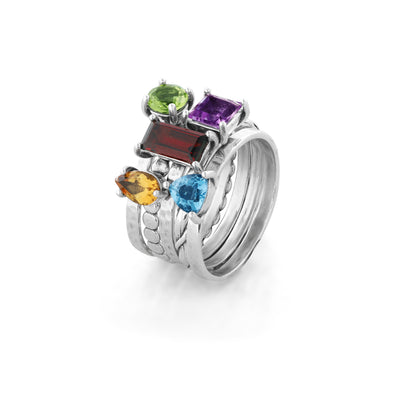 Gemstone Stack Ring Sterling Silver - Danny Newfeld Collection