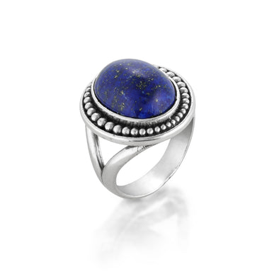 Lapis Gemstone Solitare Ring Sterling Silver - Danny Newfeld Collection