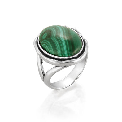 Malachite Gemstone Solitare Ring Sterling Silver - dannynewfeld