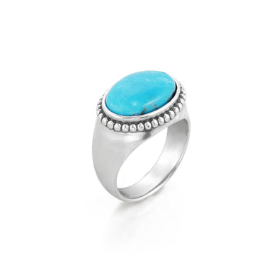 Turquoise Gemstone Solitaire Ring Sterling Silver - Danny Newfeld Collection