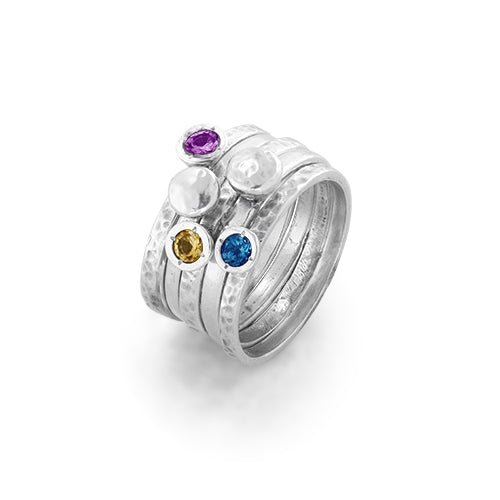 Birthstone Doublet Stacking Ring Sterling Silver - dannynewfeld