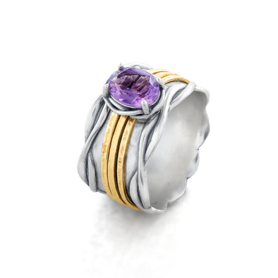 Spinner ring with Amethyst Gemstone Sterling Silver - Danny Newfeld Collection