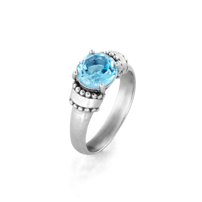 Blue Topaz Gemstone Ring Sterling Silver - Danny Newfeld Collection