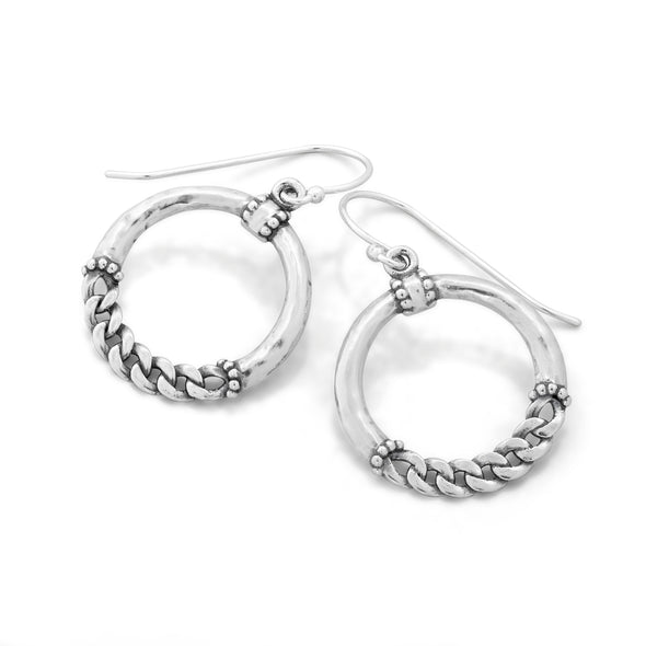 Hoop Designed Earrings Sterling Silver - Danny Newfeld Collection