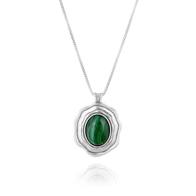 Malachite Pendant Necklace Sterling Silver - dannynewfeld