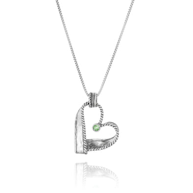 Engravable Openwork Heart Gemstone Necklace Sterling Silver - Danny Newfeld Collection