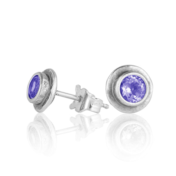Gemstone Flushed Border Earrings Sterling Silver - dannynewfeld