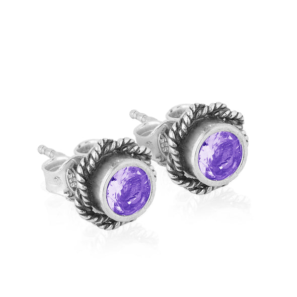 Gemstone Braided Border Earrings Sterling Silver - Danny Newfeld Collection