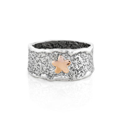 Two-Tone Textured Floral Ring Sterling Silver - dannynewfeld