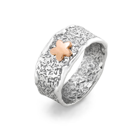 Two-Tone Textured Floral Ring Sterling Silver - Danny Newfeld Collection