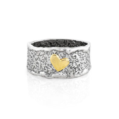 Two-Tone Textured Ring with Elevated Heart Sterling Silver - Danny Newfeld Collection