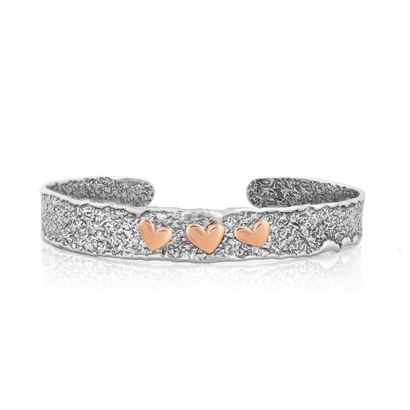 Triple Heart Cuff Bracelet Sterling Silver - Danny Newfeld Collection
