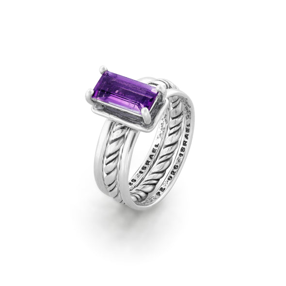 Amethyst Gemstone Stacking Ring Sterling Silver - dannynewfeld