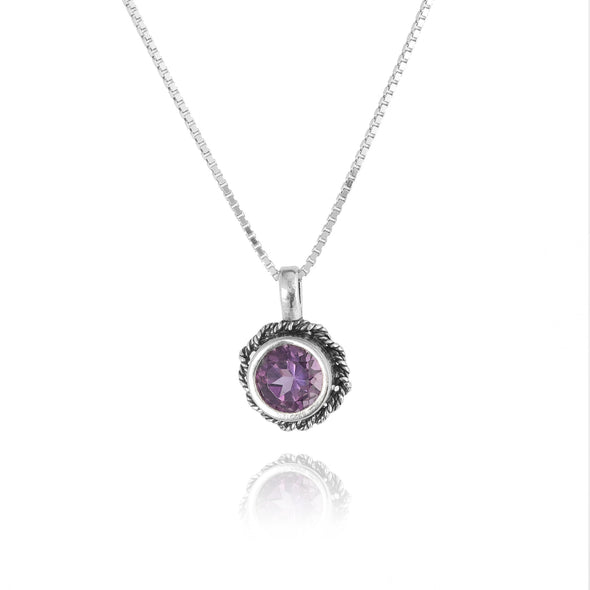 Braided Gemstone Solitaire Pendant Sterling Silver - Danny Newfeld Collection