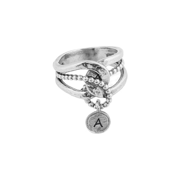 Personalized Dangling Charm Ring Sterling Silver