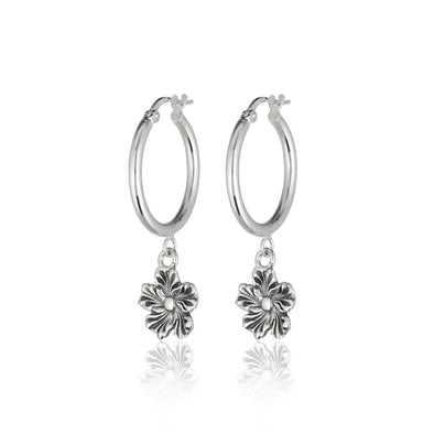 Dangling Daisy Charm Hoop Earrings Sterling Silver - dannynewfeld