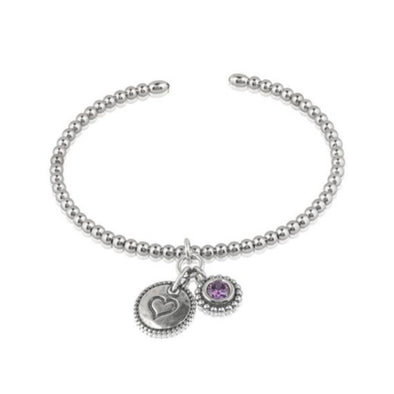 Beaded Cuff Bracelet with Birthstone Charm Sterling Silver - Danny Newfeld Collection