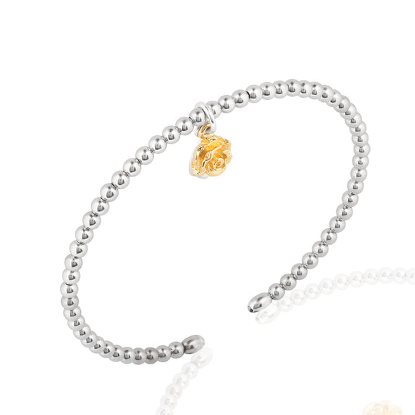 Beaded Cuff Bracelet with Leaf and Flower Charms Sterling Silver - Danny Newfeld Collection