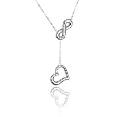 Sliding Heart and Infinity Necklace Sterling Silver - dannynewfeld