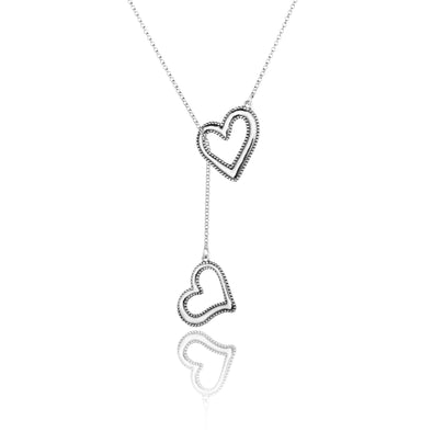Double Heart Sliding Necklace Sterling Silver - dannynewfeld