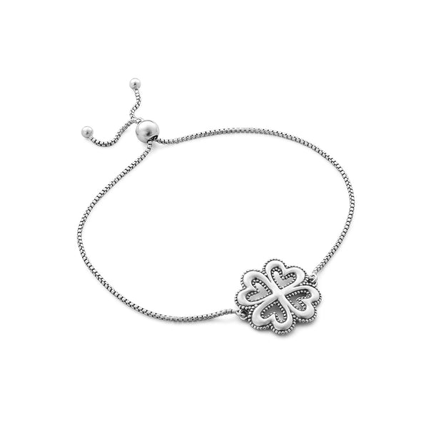 Heart and Clover Slider Bracelet Sterling Silver - dannynewfeld
