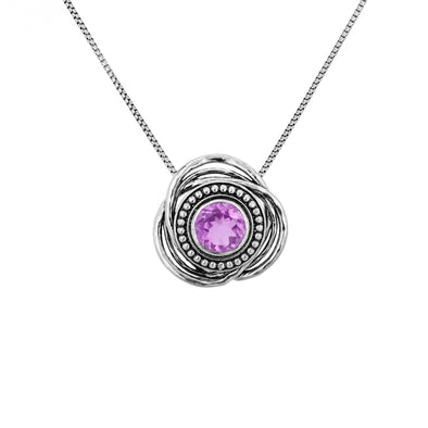 Amethyst Pendant Necklace Sterling Silver - Danny Newfeld Collection