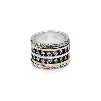 14K Gold and Sterling Silver Leaf Spinner Ring