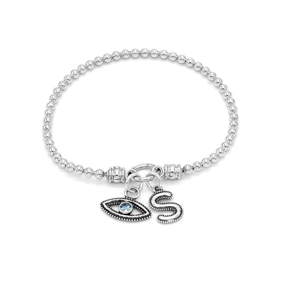 Stretch Charm Bracelet with Evil Eye and Alphabet Charms