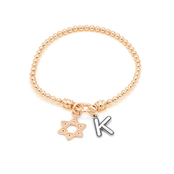 Stretch Charm Bracelet with Star of David and Alphabet Charms