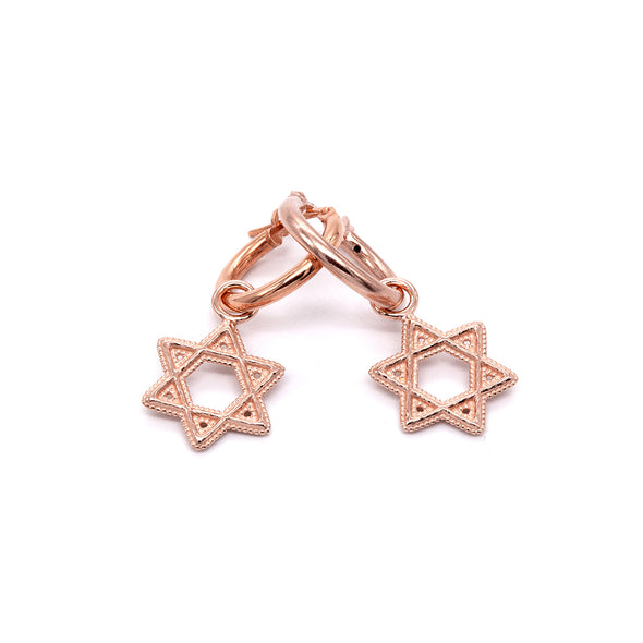 Star Of David Charm Hoop Earrings