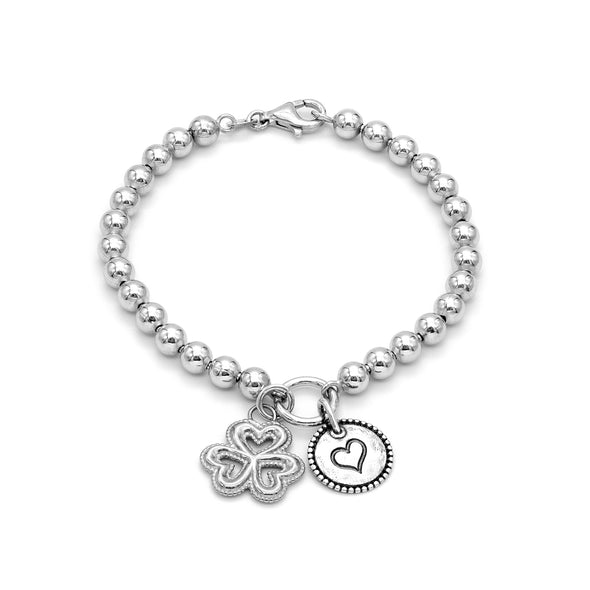 5mm Solid Beads Clover and Heart Bracelet Sterling Silver