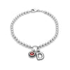 4mm Solid Beads Birthstone and Initial Bracelet Sterling Silver