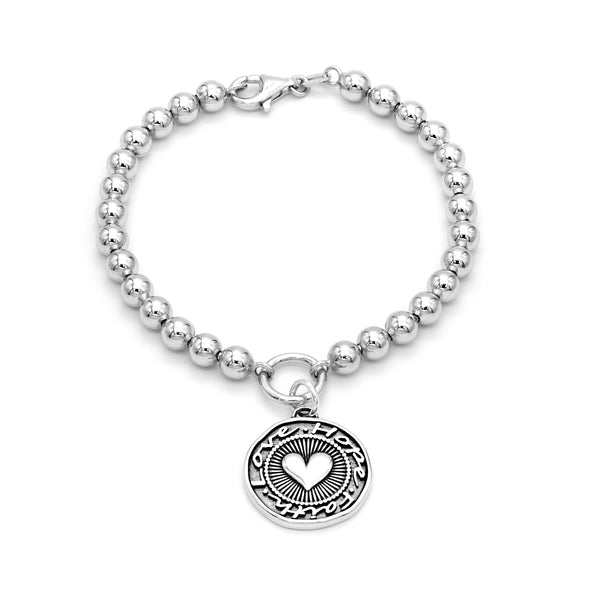 5mm Solid Beads Love, Faith and Hope Bracelet Sterling Silver