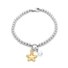 4mm Solid Beads Star and Pearl Bracelet Sterling Silver