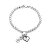 4mm Solid Beads Infinity and Heart Bracelet Sterling Silver