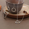Karma Open Circle Trio set of Earrings, Necklace and Ring Sterling Silver