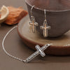 Cross Dangle Shepherd's Hook Earrings Sterling Silver