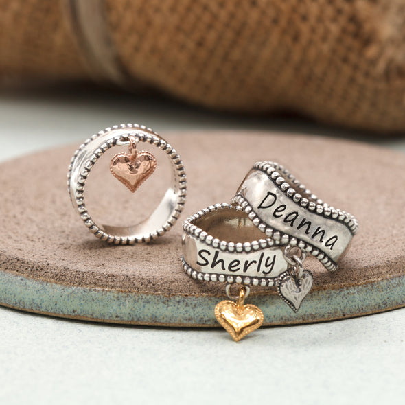 Engravable Heart-Charm Ring Sterling Silver - Danny Newfeld Collection