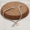 4mm Solid Beads Cross and Heart Bracelet Sterling Silver