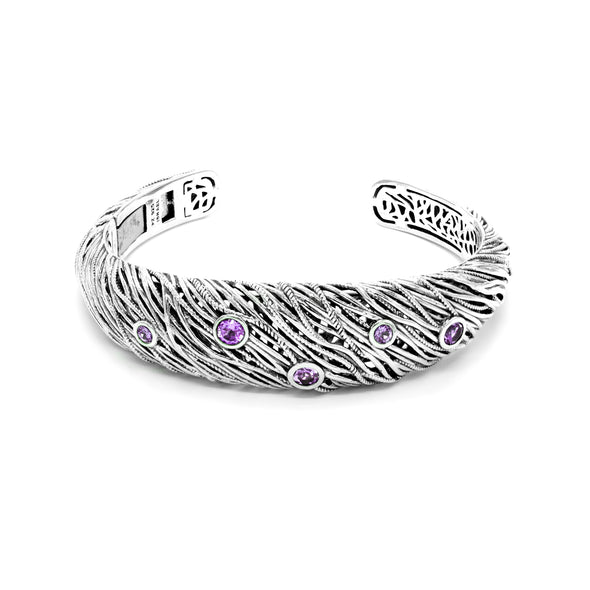 Sterling Silver Gemstone Filigree Cuff