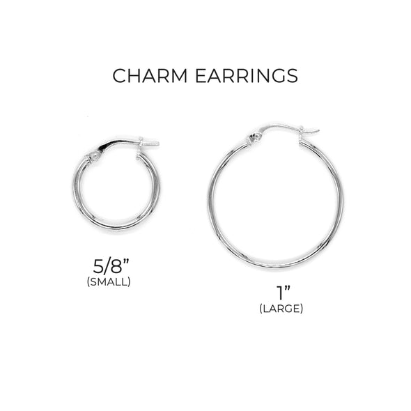 Star Charm Hoop Earrings ONE INCH