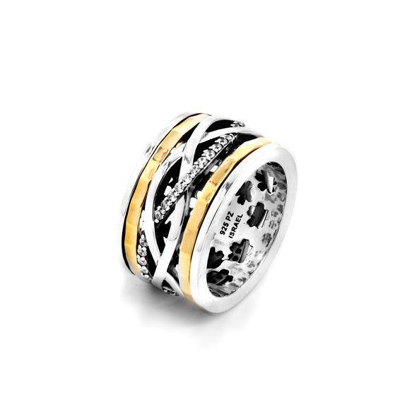 Two Tone Highway Meditation Spinner Ring with Cubic Zirconia Gemstones