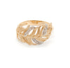 14K Gold Feather Ring with Diamonds