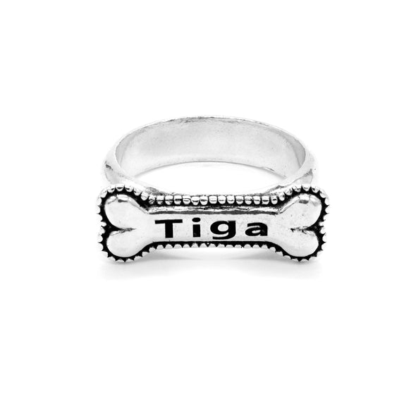 Personalized Dog Ring, Custom Pet Jewelry Sterling Silver