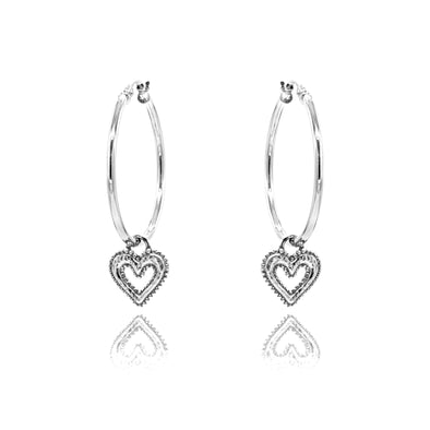"Open Heart Charm Large Hoop Earrings 1"" Sterling Silver"
