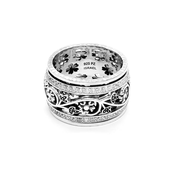 Floral Meditation Spinner Ring with Cubic Zirconia Gemstones