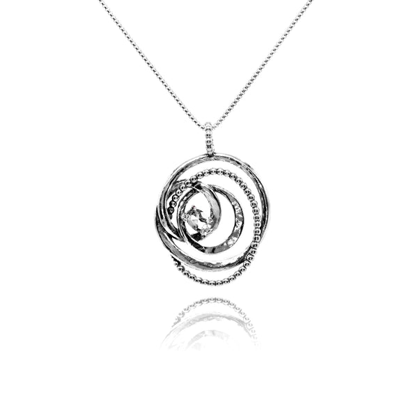 Sterling Silver Textured Circle Gemstone Pendant
