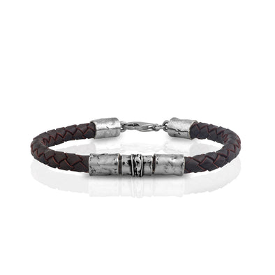 Men's Sterling Silver Braided Leather Bracelet - Danny Newfeld Collection