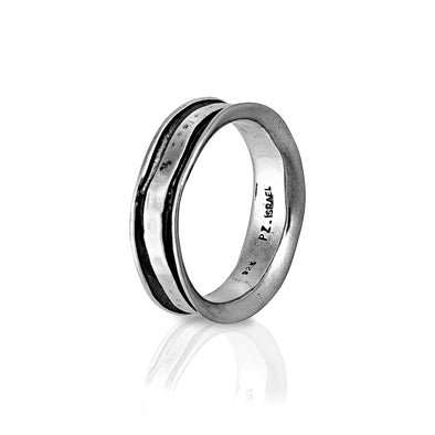 Hammered Men's Band Ring Sterling Silver - Danny Newfeld Collection