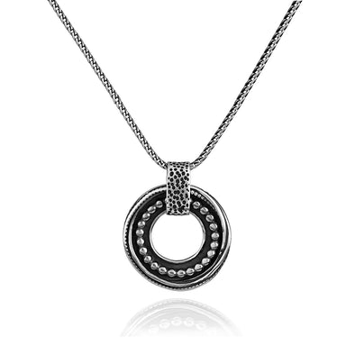 Men's Sterling Silver Beaded Pendant Necklace - Danny Newfeld Collection